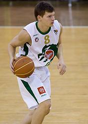 Jaka Klobucar (8) of Olimpija at basketball match of 4th Round of NLB League between KK Union Olimpija and KK Crvena zvezda,  on October 24, 2009, Arena Tivoli, Ljubljana, Slovenia.  Union Olimpija won 94:76.  (Photo by Vid Ponikvar / Sportida)