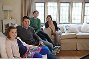 The Baker family in their living room. From left to right: Liza Baker (9), Steve Baker, Zac Baker (11), Susannah Baker. Pickwell Manor, Georgeham, North Devon, UK.<br /> CREDIT: Vanessa Berberian for The Wall Street Journal<br /> HOUSESHARE