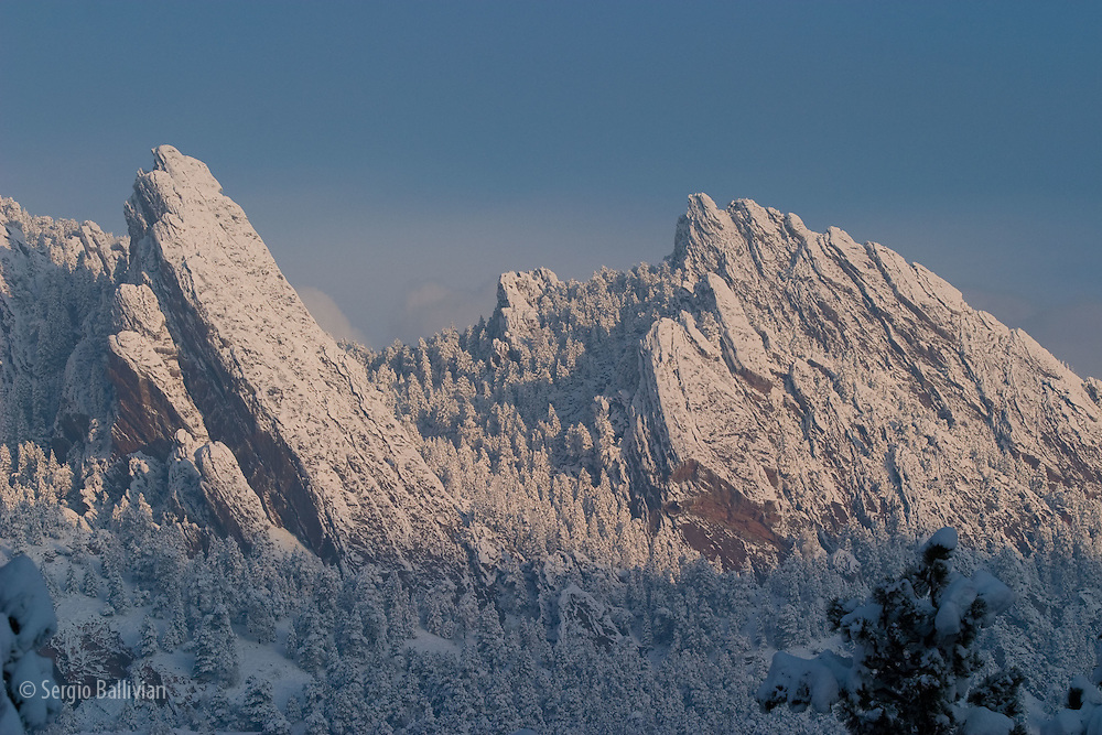 The Rocky Mountains and Front Range of Colorado after a snowstorm in Boulder, Colorado