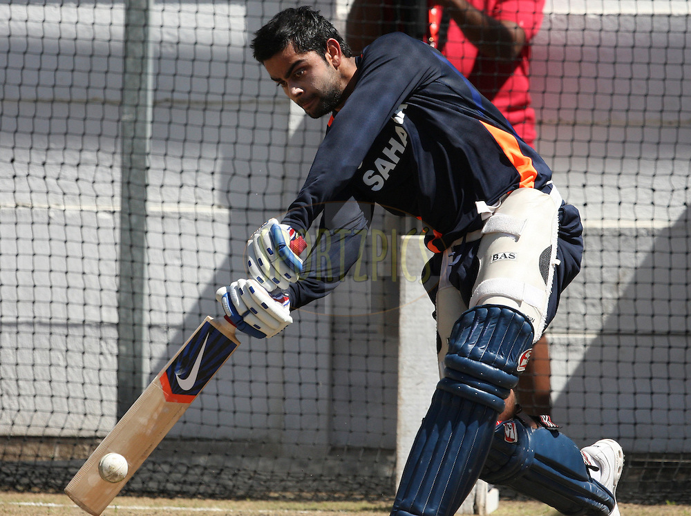 Virat Kohli during the South Africa and India team practice sessions held at Moses Mabhida Stadium and Nets sessions at Kingsmead Stadium in Durban on the 8th January 2011 ( The Pro twenty match between South Africa and India is due to be held at the Moses Mabhida Stadium on the 9th January 2011 )..Photo by Steve Haag/BCCI/SPORTZPICS