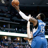 15 February 2017: Minnesota Timberwolves forward Shabazz Muhammad (15) goes for the layup against Denver Nuggets forward Juancho Hernangomez (41) during the Minnesota Timberwolves 112-99 victory over the Denver Nuggets, at the Pepsi Center, Denver, Colorado, USA.