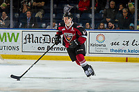 KELOWNA, BC - JANUARY 26: Bowen Byram #44 of the Vancouver Giants skates with the puck against the Kelowna Rockets at Prospera Place on January 26, 2019 in Kelowna, Canada. (Photo by Marissa Baecker/Getty Images)