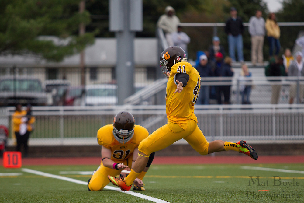 Rowan University Senior K/P Dan Dawson (41) -  Rowan University Football vs Wesley College at Richard Wacker Stadium in Glassboro, NJ on Saturday October 19, 2013. (photo / Mat Boyle)