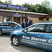 St Johnstone FC Manager Tommy Wright and Chairman Steve Brown pictured with Alan Storrar owner of Alan Storrar Cars of Perth who are the new official sponsors of the football club for the 2016/17 season…23.06.16<br />