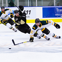 4th year forward Stephen Langford (21) of the Regina Cougars in action during the Men's Hockey Home Opener on October 21 at Co-operators arena. Credit: Arthur Ward/Arthur Images