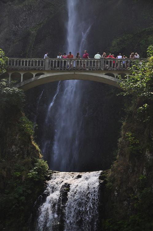 People n Footbridge Over Multnomah Falls, Columbia River Gorge National Scenic Area, Oregon, US