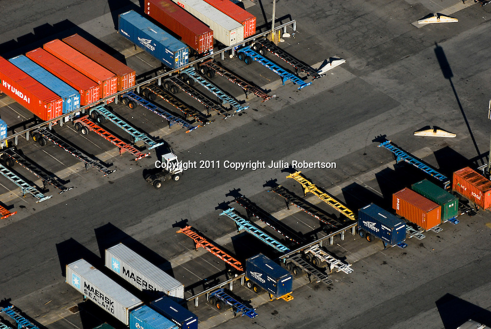 Aerial of cargo containers at the port of Philadelphia