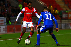 Matthew Olosunde of Rotherham United looks to take on Luke Leahy of Bristol Rovers - Mandatory by-line: Ryan Crockett/JMP - 18/01/2020 - FOOTBALL - Aesseal New York Stadium - Rotherham, England - Rotherham United v Bristol Rovers - Sky Bet League One