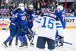 Sacha Treille of France, Damien Fleury of France, Teddy da Costa of France, Antonin Manavian of France celebrate during the 2017 IIHF Men's World Championship group B Ice hockey match between National Teams of Finland and France, on May 7, 2017 in Accorhotels Arena in Paris, France. Photo by Vid Ponikvar / Sportida