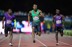 Mike Rodgers of USA, Asafa Powell of Jamaica and Kim Collins of Saint Kitts and Nevis compete in 100m Men during IAAF World Challenge Zagreb - The 65th Hanzekovic Memorial Meeting, on September 8, 2015, in Stadium Mladost, Zagreb, Croatia. Photo by Vid Ponikvar / Sportida