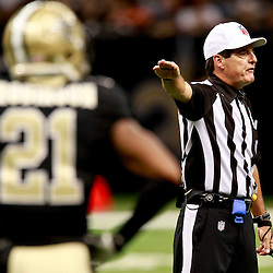 August 25, 2012; New Orleans, LA, USA; A NFL replacement official signals a penalty against the New Orleans Saints defense during the first half of a preseason game against the Houston Texans at the Mercedes-Benz Superdome. The Saints defeated the Texans 34-27. Mandatory Credit: Derick E. Hingle-US PRESSWIRE