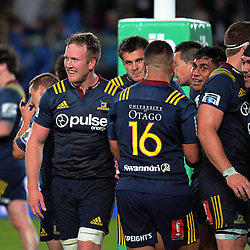 The Highlanders huddle after the final whistle of the Super Rugby match between the Blues and Highlanders at Eden Park in Auckland, New Zealand on Saturday, 11 March 2017. Photo: Dave Lintott / lintottphoto.co.nz