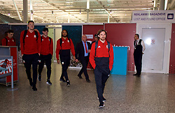 TIRANA, ALBANIA - Monday, November 19, 2018: Wales' Joe Allen and team-mates arrive at Tirana International Airport ahead of the International Friendly match between Albania and Wales. (Pic by David Rawcliffe/Propaganda)