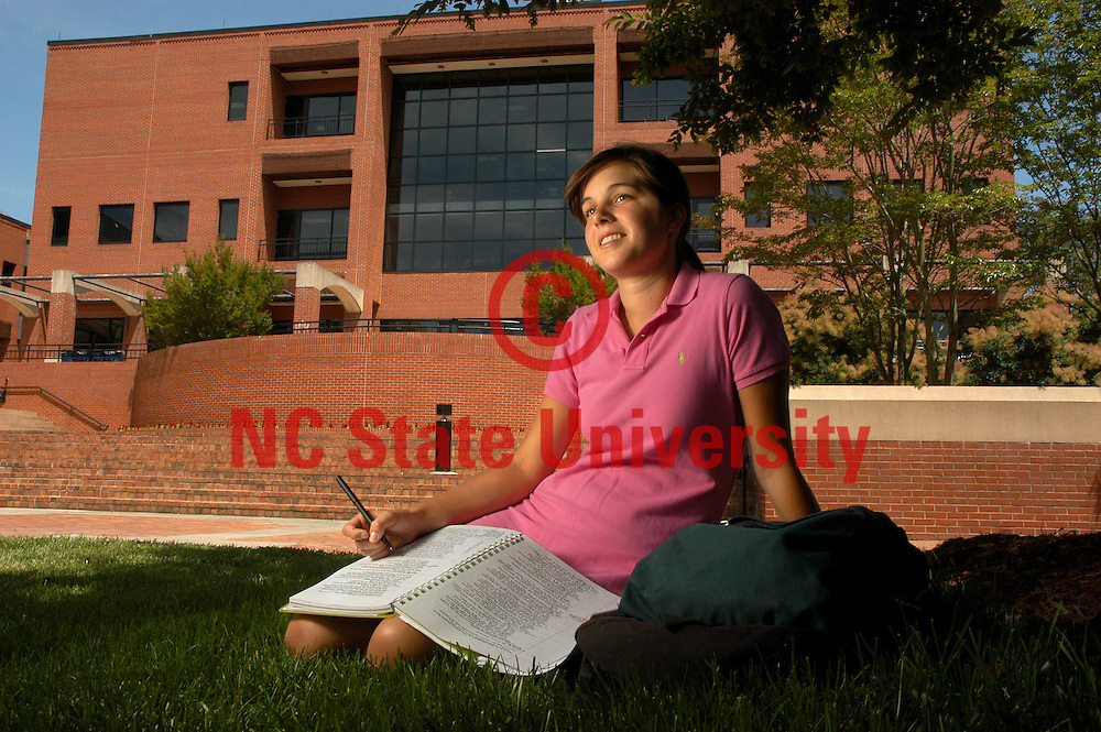 College of Textiles' Mary Clare Bracey takes a break while studying on Centennial Campus.   PHOTO BY ROGER WINSTEAD