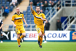 Dumbarton's Andy Graham celebrates after scoring their first goal.<br /> Falkirk 1 v 2 Dumbarton, Scottish Championship game played today at the Falkirk Stadium.<br /> &copy;Michael Schofield.