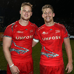 Jean-Luc du Preez with Rob du Preez of Sale Sharks during the Gallagher Premiership match between Bath Rugby and Sale Sharks at the The Recreation Ground Bath England.2nd December 2018,(Photo by Steve Haag Sports)