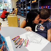 Ashley Campbell attempts to console her daughter Lily, 5, while dropping her off for the first day of kindergarten at Chester W. Taylor Jr. Elementary School Monday, Aug. 18, 2014 in Zephyrhills. Public schools in Pasco and Pinellas welcomed back students Monday. Classes in Hillsborough begin Tuesday.