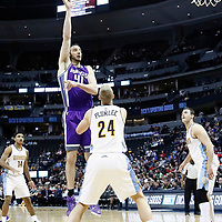 06 March 2017: Sacramento Kings center Kosta Koufos (41) goes for the baby hook over Denver Nuggets center Mason Plumlee (24) during the Denver Nuggets 108-96 victory over the Sacramento Kings, at the Pepsi Center, Denver, Colorado, USA.
