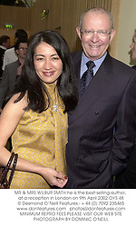 MR & MRS WILBUR SMITH he is the best-selling author, at a reception in London on 9th April 2002.OYS 48