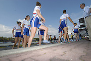 Munich, GERMANY, 02.09.2007,   A Final, GBR W8+   celebrate a Bronze medal in the Women's eight final  at the 2007 World Rowing Championships, taking place on the  Munich Olympic Regatta Course, Bavaria. [Mandatory Credit. Peter Spurrier/Intersport Images]..[Carla ASHFORD, Baz MOFFATT, Alice FREEMAN, Louisa REEVE, Natasha HOWARD, Alison KNOWLES, Katie GREVES, stroke Jessica-Jane EDDIE and cox Caroline O'CONNER] , Rowing Course, Olympic Regatta Rowing Course, Munich, GERMANY