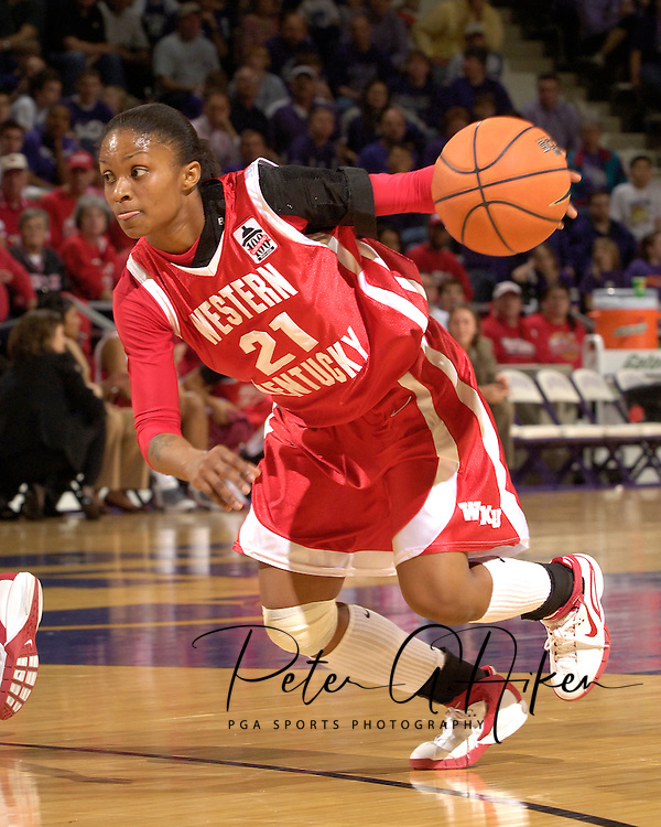 Western Kentucky guard Ashley Butler drives to the basket against Kansas State, during the first half at Bramlage Coliseum in Manhattan, Kansas, March 28, 2006.  K-State defeated Western Kentucky 57-56 in overtime of the WNIT Semifinals.