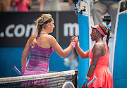 Billed as a deciding match of the fourth round, Victoria Azarenka (RUS) easily cruised past S. Stephens (USA) 6-3 6-2 at Rod Laver Arena on Monday.<br /> Here, Azarenka and Stephens exit the court at the end of the match.<br /> With top seeds falling , Azarenka - the defending champion - was in no mood to exit the tournament early herself, wrapping up a comfortable win in 91 minutes.