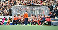 AMSTERDAM - Hockey - Dug out Oranje.  Interland tussen de vrouwen van Nederland en Groot-Brittannië, in de Rabo Super Serie 2016 .  COPYRIGHT KOEN SUYK
