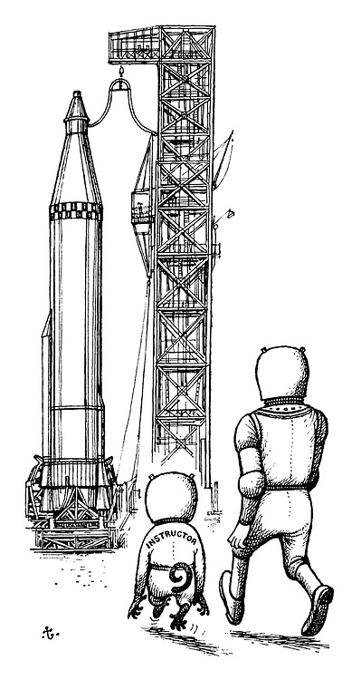 (A monkey as an instructor takes an astronaut to his rocket ship for a flying lesson)