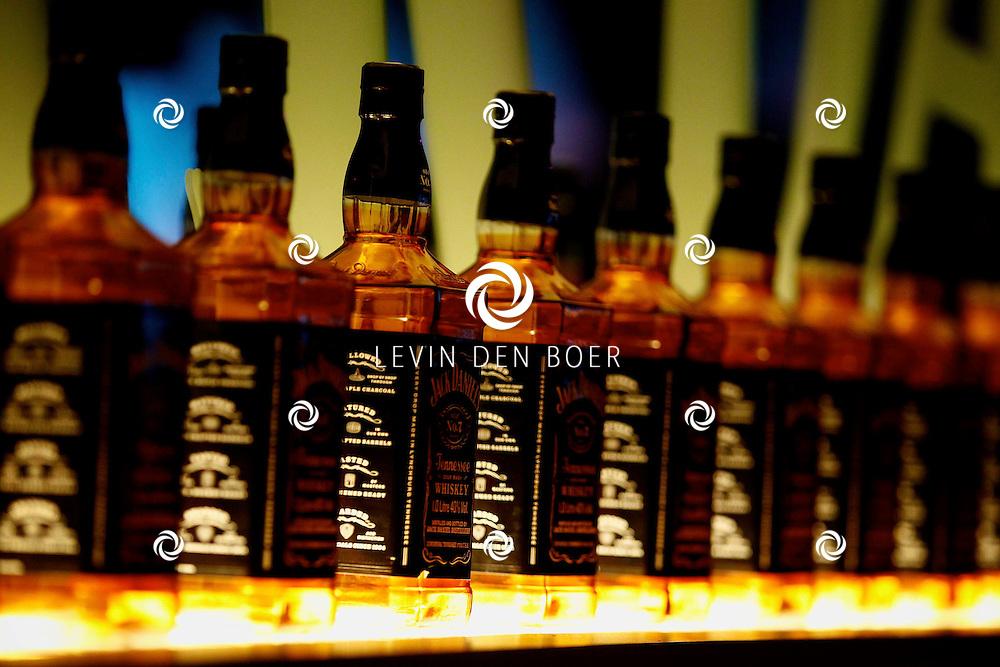 AMSTERDAM - In de Ziggo Dome is de eerste officiële Jack Daniel's bar in Europa geopend. Met op de foto  de flessen Jack Daniel's. FOTO LEVIN DEN BOER - PERSFOTO.NU