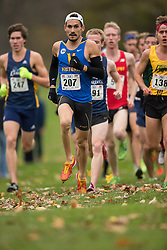 Olivier Collin of the Victoria Vikes runs in the men's  10K Run at the 2013 CIS Cross Country Championships in London Ontario, Saturday,  November 9, 2013.<br /> Mundo Sport Images/ Geoff Robins