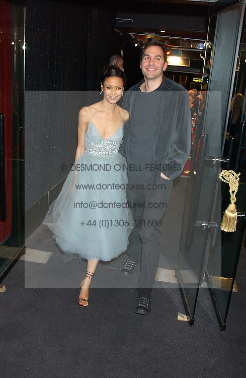 Actress THANDIE NEWTON and her husband OLIVER PARKER at a party to celebrate the first issue of British Harper's Bazaar held at Cirque, 10-14 Cranbourne Street, London WC2 on 16th February 2006.<br />