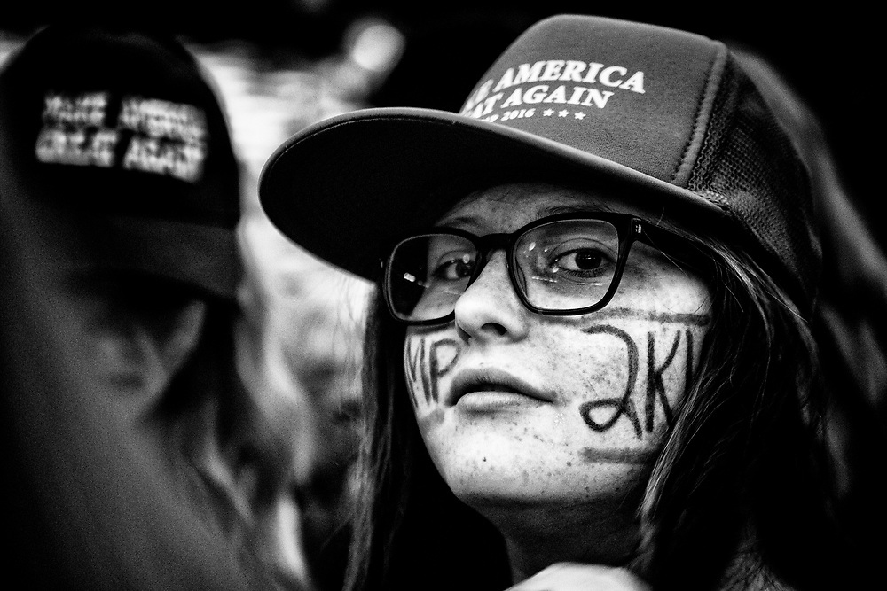 A young Candidate Trump supporter in attendance at his rally at the Anaheim Convention Center. Anaheim, Calif. May 26, 2016. (Photo by Gabriel Romero ©2016)