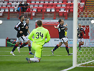 Dundee&rsquo;s Paul McGowan celebrates after scroing the winner - Hamilton v Dundee in the Ladbrokes Scottish Premiership at Superseal stadium, Hamilton. Photo: David Young<br /> <br />  - &copy; David Young - www.davidyoungphoto.co.uk - email: davidyoungphoto@gmail.com