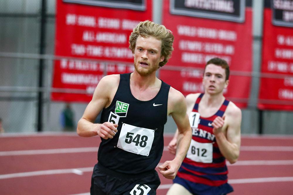 mens 3000 meters, NE Distance, Henry Sterling<br /> Boston University Scarlet and White<br /> Indoor Track & Field, Bruce LeHane