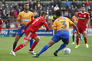 Jordan Clark of Accrington Stanley and Mansfield Town's Malvind Benning during the EFL Sky Bet League 2 match between Accrington Stanley and Mansfield Town at the Fraser Eagle Stadium, Accrington, England on 19 August 2017. Photo by John Potts.