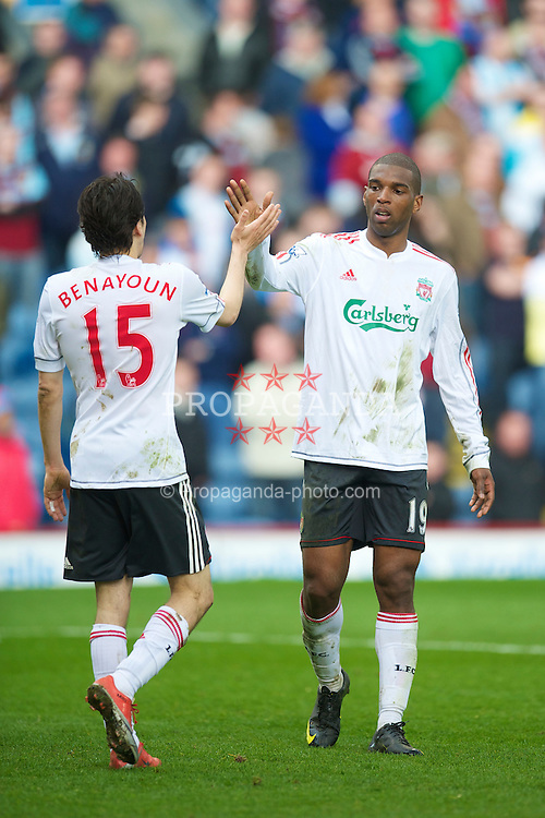 BURNLEY, ENGLAND - Sunday, April 25, 2010: Liverpool's Ryan Babel celebrates scoring his side's fourth goal against Burnley during the Premiership match at Turf Moor. (Photo by David Rawcliffe/Propaganda)
