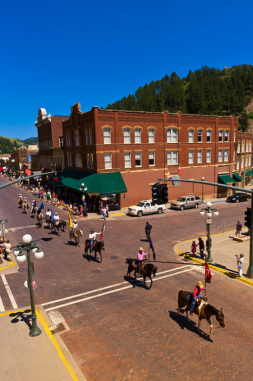Days of 76 Parade, Main Street, historic Deadwood, Black Hills, South Dakota USA