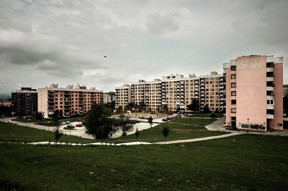 Panoramic view of Mojmilo olympic village, built in 1984 close to Dobrinja, Sarajevo's suburb, for the winter Olympic Games. In 1992 during the Balcan war the village has been almost razed to the ground.  One year after the end of war, in 1996 Barcelona's city through some spanish cooperation projects rebuilt a big part of the village. At time in Mojmilo live approximately 4 thousand people, most of them are young couples with children, teenagers and university students.