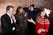 "(from left) Mike Webb as Yule Cazonet, Susan Robert as Harmony Joy Warble, Jene Rebbin Shaw as Merry Dischord and Tamra Francis as Melody Madrigal during Mayhem & Mystery's rehearsal of ""Caroling Catastrophe"" at the Spaghetti Warehouse in downtown Dayton, Sunday, November 2, 2014."