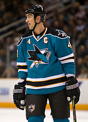 January 6, 2010; San Jose, CA, USA; San Jose Sharks defenseman Rob Blake (4) during the first period against the St. Louis Blues at HP Pavilion. San Jose defeated St. Louis 2-1 in overtime. Mandatory Credit: Jason O. Watson / US PRESSWIRE