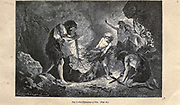 making fire according to the French illustrator Emile Bayard (1837-1891), illustration Artwork published in Primitive Man by Louis Figuier (1819-1894), Published in London by Chapman and Hall 193 Piccadilly in 1870