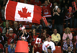 Fans of Canada at ice-hockey match Canada vs Latvia (with replika jerseys from year 1936) at Preliminary Round (group B) of IIHF WC 2008 in Halifax, on May 04, 2008 in Metro Center, Halifax, Nova Scotia, Canada. (Photo by Vid Ponikvar / Sportal Images)