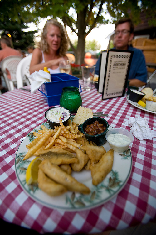 John Roemer and his wife Megan enjoy a fish fry of perch at the Northern Grill in Sister Bay, Wisconsin in Door County.   Mike Roemer / Mike Roemer Photography Inc.  920-347-9323.
