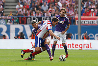 Atletico de Madrid´s Koke and Espanyol´s Canas during 2014-15 La Liga Atletico de Madrid V Espanyol match at Vicente Calderon stadium in Madrid, Spain. October 19, 2014. (ALTERPHOTOS/Victor Blanco)