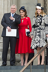 © Licensed to London News Pictures. 10/06/2016.  DUKE OF YORK, PRINCESS EUGINE and PRINCESS BEATRICE attend The National Service of Thanksgiving to mark the 90th Birthday of Queen Elizabeth II at St Paul's Cathedral. London, UK. Photo credit: Ray Tang/LNP