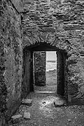 Doorway of 14th Century Cistercian Abbey on Clare Island, western Ireland.