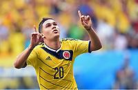 2:0 Jubel Juan Quintero (Kolumbien)<br /> Fussball, FIFA WM 2014 Vorrunde, <br /> Colombia - Elfenbenskysten<br /> Norway only