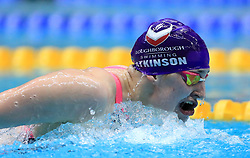 Charlotte Atkinson competes in the Women's 200m Open 200m Butterfly heats during day three of the 2017 British Swimming Championships at Ponds Forge, Sheffield.