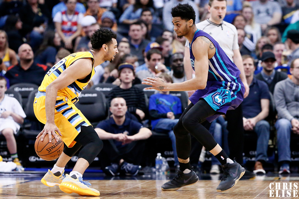 04 March 2017: Charlotte Hornets guard Jeremy Lamb (3) defends on Denver Nuggets guard Jamal Murray (27) during the Charlotte Hornets 112-102 victory over the Denver Nuggets, at the Pepsi Center, Denver, Colorado, USA.