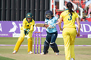 Laura Marsh batting during the Royal London Women's One Day International match between England Women Cricket and Australia at the Fischer County Ground, Grace Road, Leicester, United Kingdom on 4 July 2019.